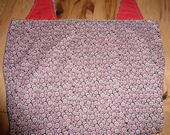 Reversible Grocery Bag Market Tote Medium Red Black White Dots Geometric