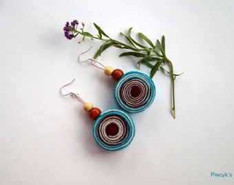 Swirly Felt Earrings with Sterling Silver Earwires Turquoise Burgundy Ecru with Wooden Beads