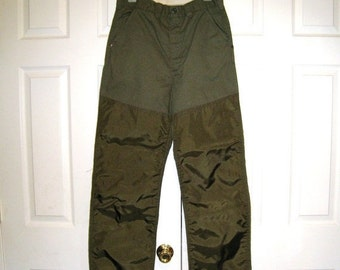 Vintage Canvas Hunting Pants With Brush Guards / OD Green / 1960s Saf T Bak / Reinforced / 30 X 30 / Excellent Condition