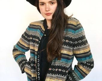 Ethnic Woven Blue Blazer Jacket