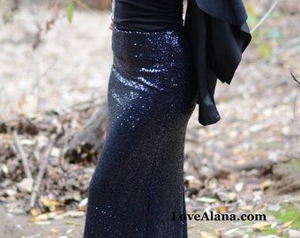Navy Maxi Sequin Skirt - Gorgeous high quality sequins (S,M,L,XL)