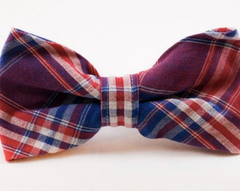 Red White and Blue Americana Plaid Dog Bow Tie