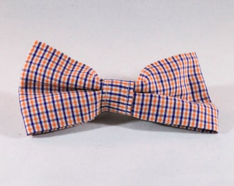 Preppy Navy and Orange Gingham Dog Bow Tie, Check Plaid Auburn University Tigers