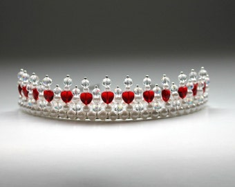 Royal Regal Red Heart Tiara, Birthday Tiara, Flower Girl Tiara