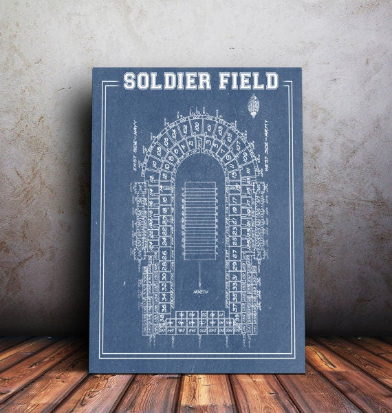 Print of vintage soldier field seating chart on photo for 12x15 calculator