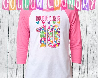 DOUBLE DIGITS 10th hearts Tenth birthday girls birthday 10 year old raglan baseball style tee shirt birthday girl hearts 10th  Birthday Day