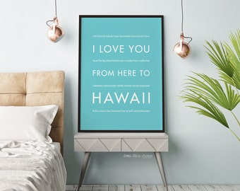 Hawaii Decor, Beach Decor, Hawaii Art Print, Paper Anniversary, I Love You From Here To HAWAII, Shown in Robins Egg Blue