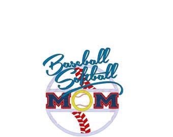 Softball Baseball Mom Embroidered Tee