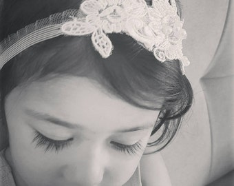 Grace headband Ivory baby girl soft beaded lace stretch floral head accessory