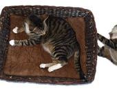 Cat Mat, Cat Bed, Dog Mat, Pet Bed, Brown Wool Cushion, Hand Felted Wool and Alpaca