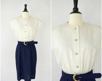SALE Vintage navy blue and beige linen dress / cap sleeved belted dress