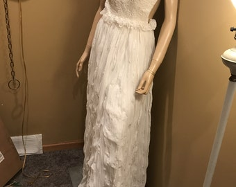 Shabby Shiek Backless WHITE Gauze Vintage Maxi Gown . Silk lined . Padded bust. Prom. wedding. Travel. Cruise. Beach Party. Size Small