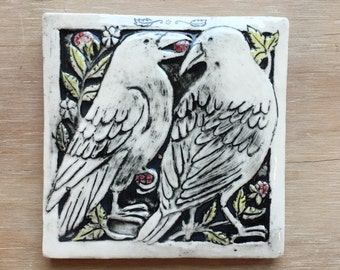 Two crows with berries porcelain tile for wall hanging or installation 4x4 inch with gloss finish