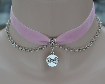 PINKY PROMISE Charm With Chain Accent Baby PINK Velvet Ribbon Choker  - ew... or choose another colour velvet from 30 quality colours :)