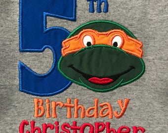 Ninja Turtle Embroidered Birthday Shirt (name included)