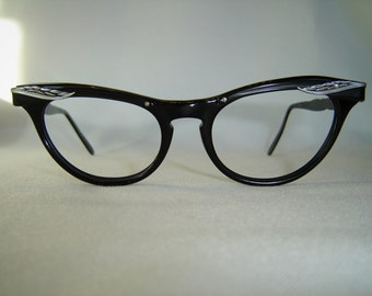 "Vintage '50's Marine USA Cateye Eyeglasses, ""Little Black Frame"",  w/Sculpted Silver Accents"