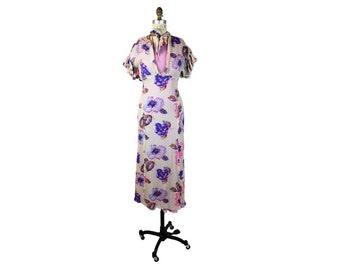 1940s Floral Chiffon Evening Maxi Dress