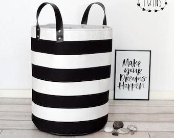 black white laundry hamper,Large Round Nursery Basket, laundry basket, toy storage, Toy basket, storage bin, laundry hamper, nursery storage