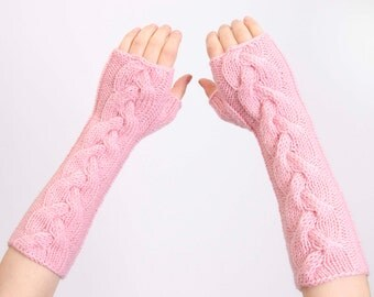 Knitted  fingerless arm warmer with cable patttern