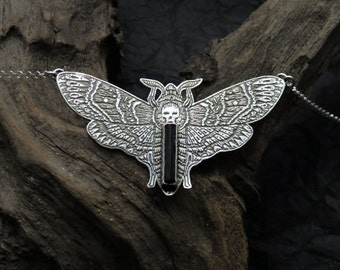 Death's Head Moth Necklace - Sterling Silver Butterfly Necklace - Silver Moth Pendant - Tourmaline Moth Pendant - Silver TourmalineNecklace