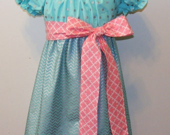 Aqua Metallic  Peasant Dress with sash 4T
