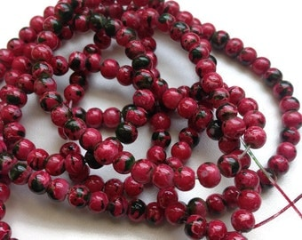 100 Red Black Glass Beads, 4mm Imitation Regalite Jasper Beads G 50 038