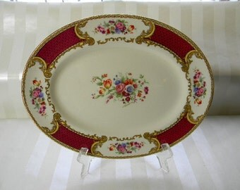 Vintage Myotts Royal Crown, The BOUQUET,  Maroon, Small Oval Platter, Artist Signed