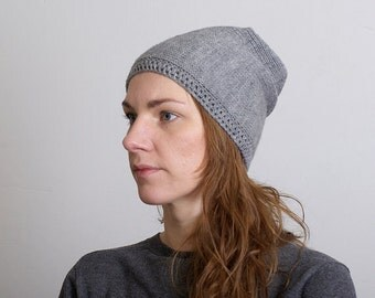 Slouchy Beanie, Knitted Hat, Hand Knit Hat, Slouchy Hat, Mens Hats, Womens Slouchy Hat, Unisex Beanie, Gray, Light Gray, Black Color