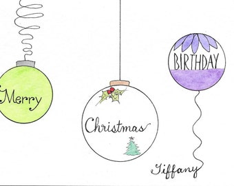 Christmas Birthday Card PERSONALIZED for FREE Christmas Ornament Card Happy Christmas Birthday Card With the Name of Your Choice