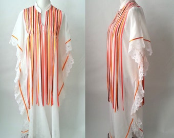 Vintage 1970s White and Orange Cotton Caftan, Bathing Suit Cover