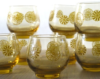 Set of Eight Low Ball Tumblers Roly Poly Gold with Flowers