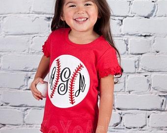 Baseball Sister Monogram-- Applique Baseball Shirt or bodysuit- Baseball Sister Shirt- Baby Girl bodysuit-
