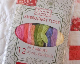 French General Embroidery Floss designer pack, 12 skeins, Cosmo threads, Lecien