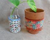 Up-cycled Bottle/flower Pot Cover Decorative Crochet or Jar Skirt Vase Alternative