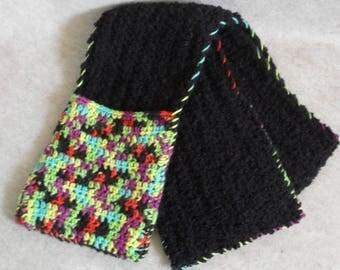 Black & Rasta Colors Scarf, Crochet Pocket Scarf, Peacock Color Scarf
