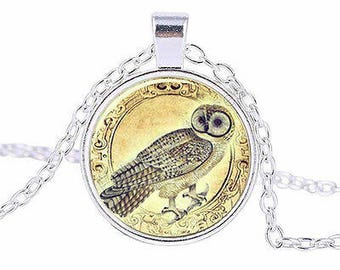 Snow Owl Glass Cabochon Pendant Necklace