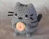 Pusheen - Crocheted Donut Pusheen - Ready to Ship - cat Amigurumi