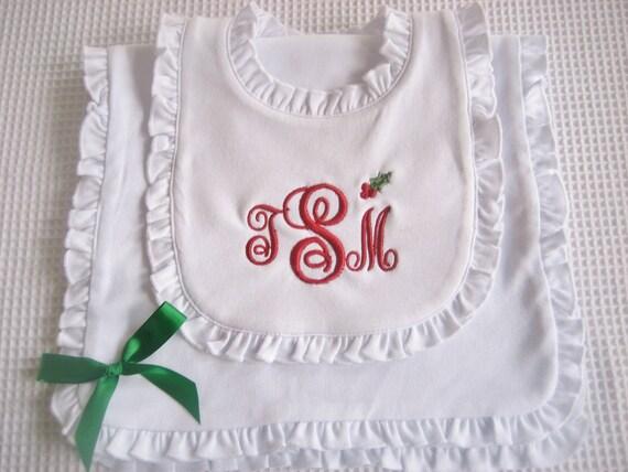 Christmas Baby Gift Set Christmas Bib and Burp Cloth Set Christmas Bib Set Baby Christmas Gift