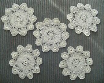 "Vintage 5 Crocheted Doilies, Exquisite with 10 Raised Flowers & Center Raised Flower Crocheted on the Top,  6 1/2"" Diameter, Vintage Linens"