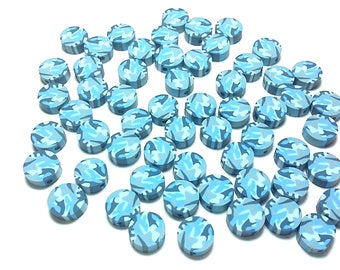 20 Fimo Polymer Clay Coin Round Beads Military Blue Camouflage Print