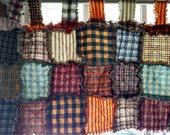 "Custom order for Linda Window Valance Homespun Fabrics with 2"" Loop Top 15"" x 68"" with Muslin Backing"