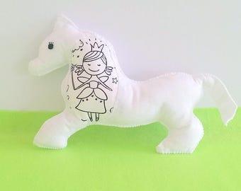 Horse Plush Toy, Unicorn Soft Toy, Horse Color Me Toy, Felt Pony, Doodle Art, Gift for Girls, Party Favors Kids, White Horse, Fairy Coloring