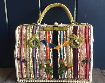 Marcus Brothers of Miami Embellished White Wicker Handbag