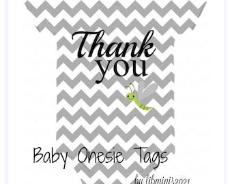 Onesie Chevron Baby Tags Gray Digital Download File