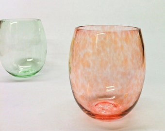 Stemless Wine Glass in Pale Peach / Home Decor / Holiday Entertaining / Beach Sea Glass Colors