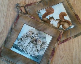 Owl & Squirrel 2 pc. Hot Pad or Pot Holder Set