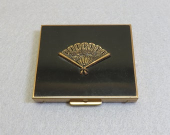 Vintage 1960s Black and Brass Compact - Never Used
