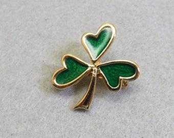 Vintage Irish Shamrock or Enamel Clover Pin,
