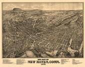 Vintage Map - New Haven, Connecticut 1879