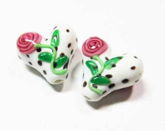 10 pieces Puffy Heart Lampwork Glass Beads, Mother's Day, Flower, Polka Dots
